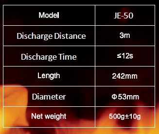 JE-50 fire extinguisher specifications